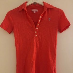 Coral Lilly Pulitzer Cotton Polo